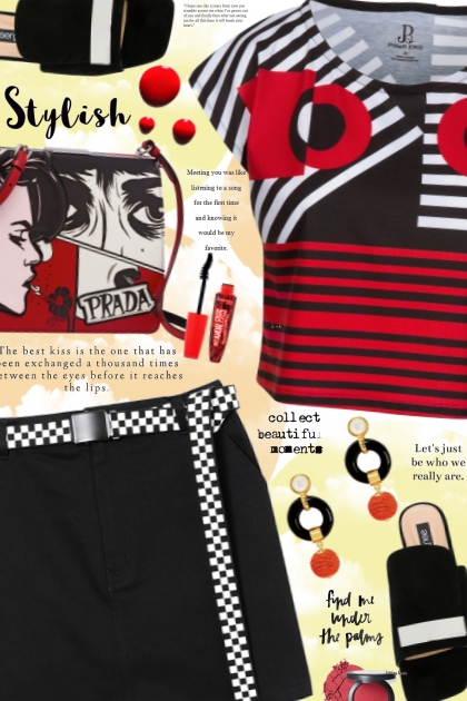 Black Red Geometric Graphic Cropped Tee