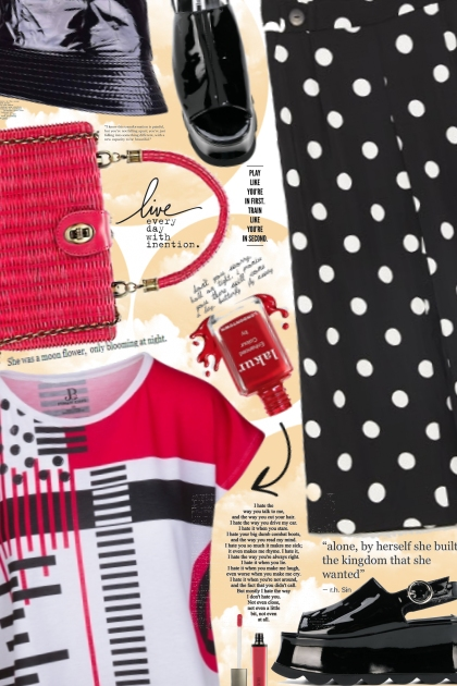 Red Black Box Cut Graphic Tee - Fashion set
