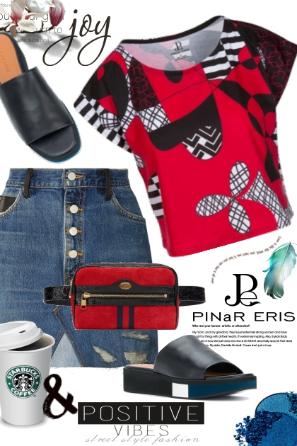Red Black Cropped Graphic Tee