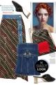 Denim-trimmed printed wrap skirt & bustier top