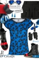 Blue Black All Over Dancing Print Tee