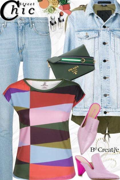 Multi Color Geometric Print T-Shirt