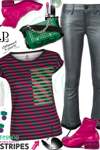Multi Color Striped Fitted Tee