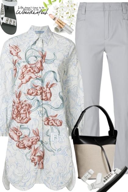 PRADA rabbit-print shirt