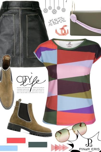 Multi Color Geometric T-Shirt