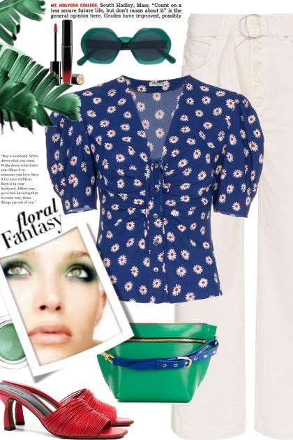 MIU MIU ruched floral print blouse