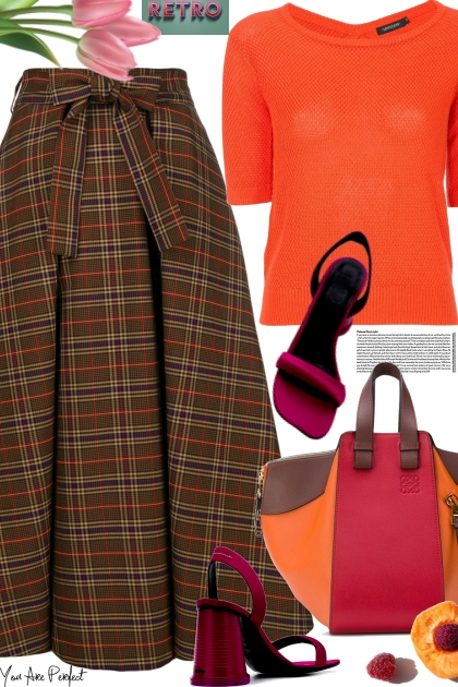 MSGM checked flared skirt
