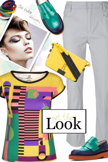 Multi Colored Print T-Shirt - Combinaciónde moda