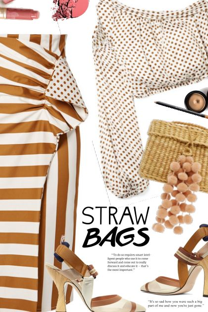 Stripes,polka dots and straw bag