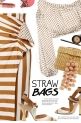 Stripes,polka dots and straw bag