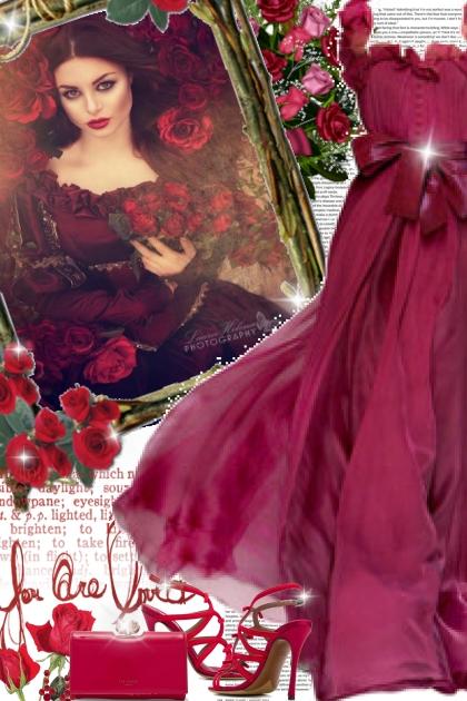 Burgundy gown!