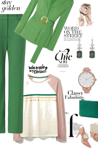 Green and blush- Combinaciónde moda