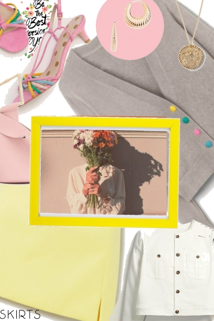 yellow,pink and grey