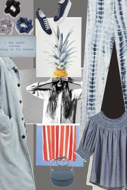 a series of gray and blue- Fashion set