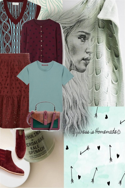 green and maroon- Fashion set