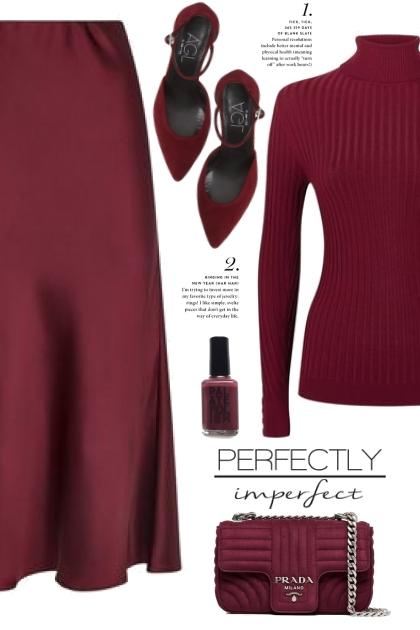 Burgundy Satin Skirt!