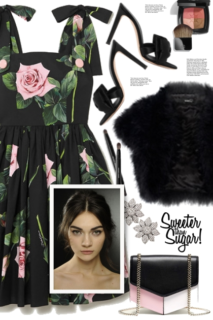 Rose Print Dress!- 搭配