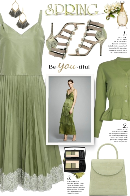 Green Pleated Dress!