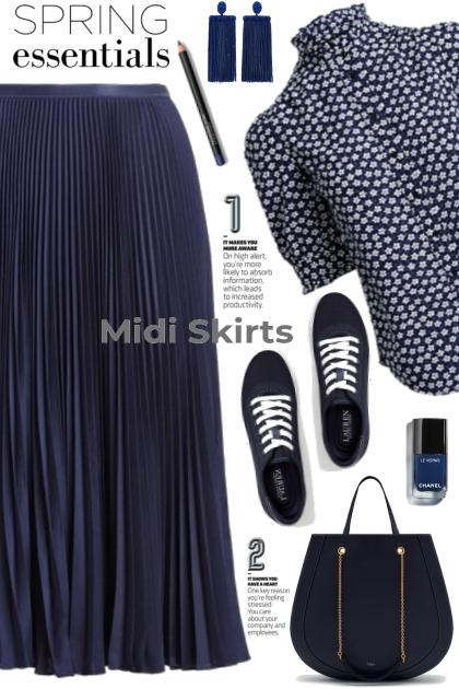 Navy Midi Skirt!- Fashion set