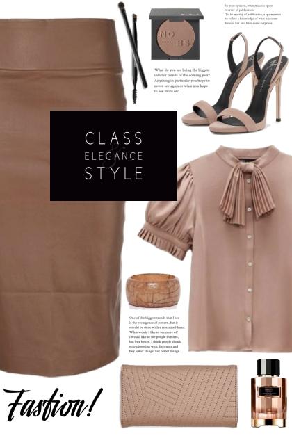 Brown Pencil Skirt!- Fashion set