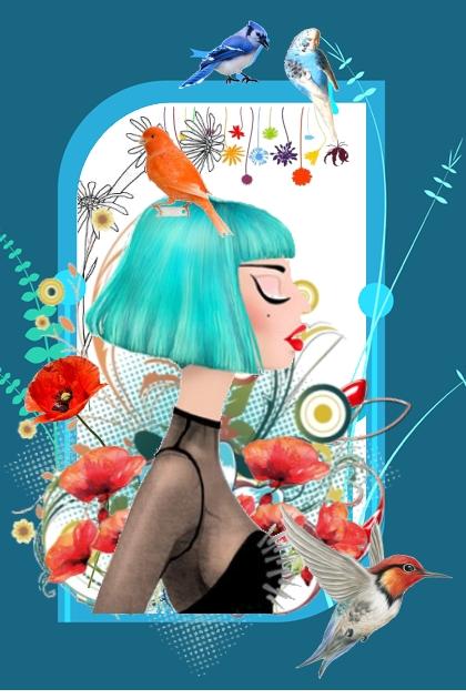 Jente med fugl
