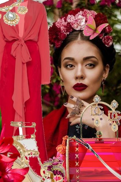 Rød buksedrakt- Модное сочетание