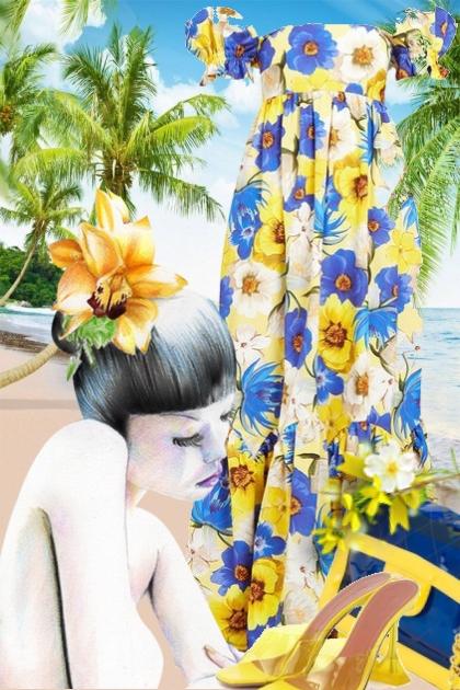 Maxikjole med blomster