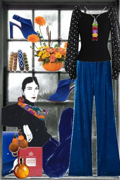 Blå bukse og sort topp