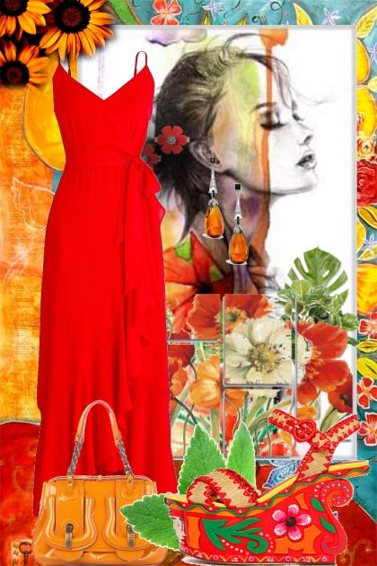Rød kjole og platåsko