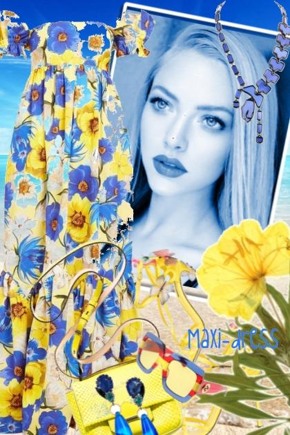 Maxikjole med blå blomster