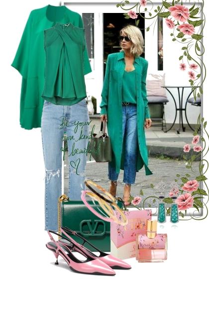 Jeans med grønt tilbehør