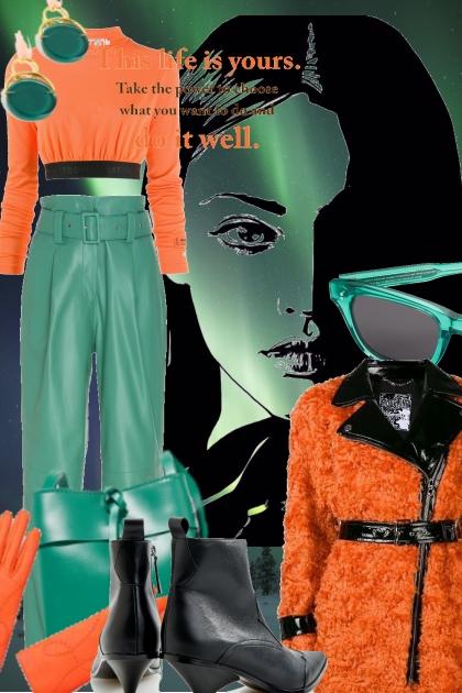 Grønn/oransje- Combinazione di moda