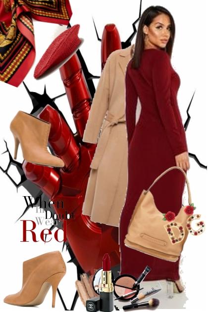 Rød lang kjole