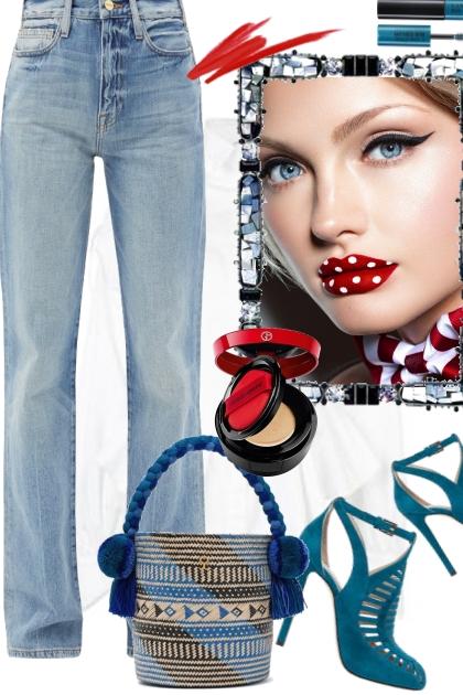 Jeans og hvit bluse