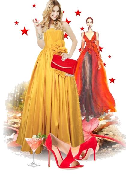 Gul sid kjole