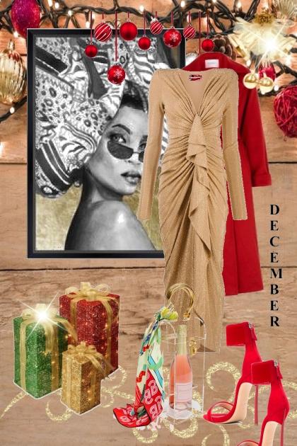 Beige kjole og rød kåpe