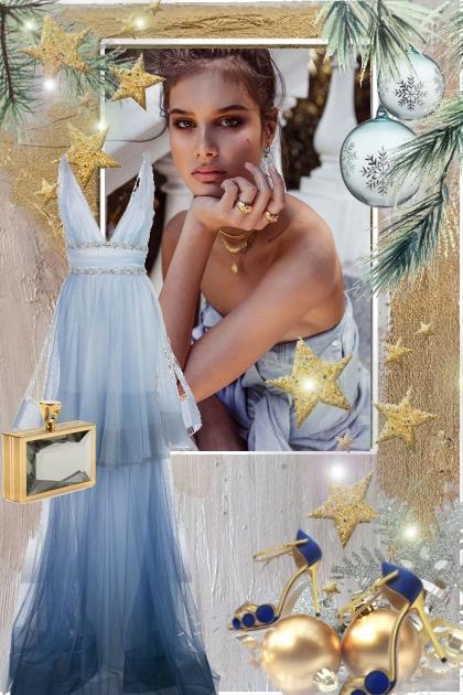 Lys blå julekjole