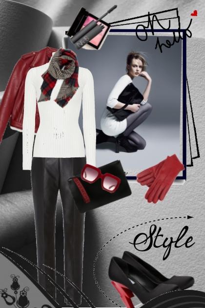 Rødt,sort og hvitt antrekk