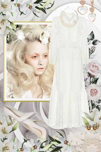 Hvit blondekjole 7-1