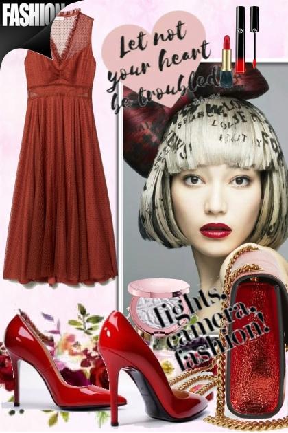 Dyp rød kjole 20-1
