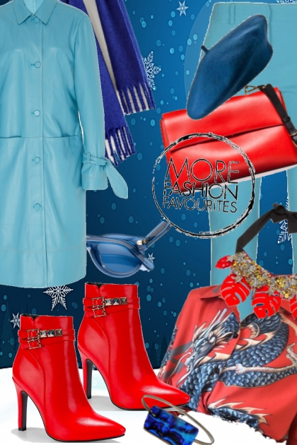 Lys blå og rødt