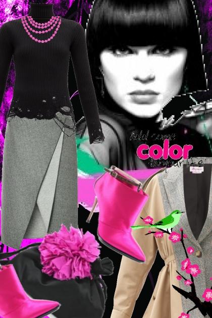 Grå og sort med rosa tilbehør