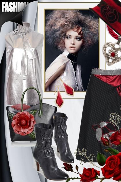 Silver top and black skirt- Combinazione di moda