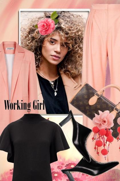 Lys rosa og sort antrekk