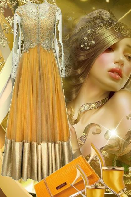 Orange og gull kjole