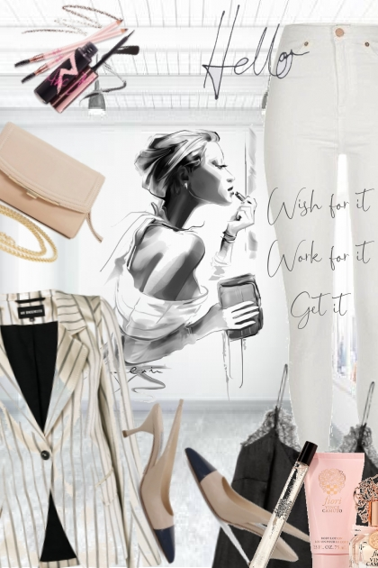 Hvit bukse og stripete jakke