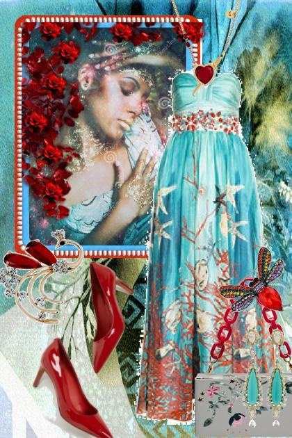 Lys blå sid kjole 3-3