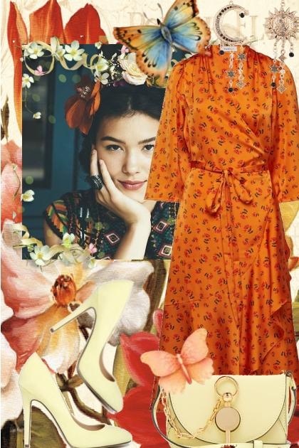 Orange kjole 5-3