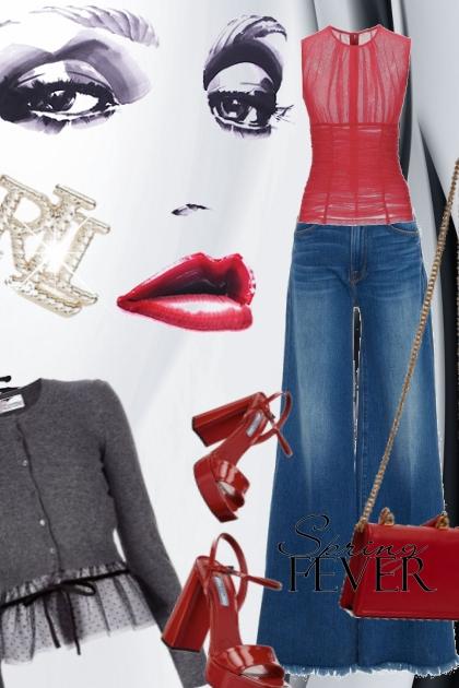 Jeans og rødt tilbehør