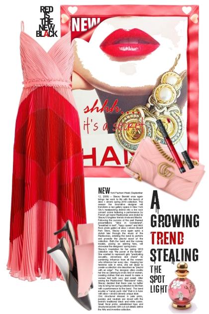 Rød/rosa kjole- Fashion set